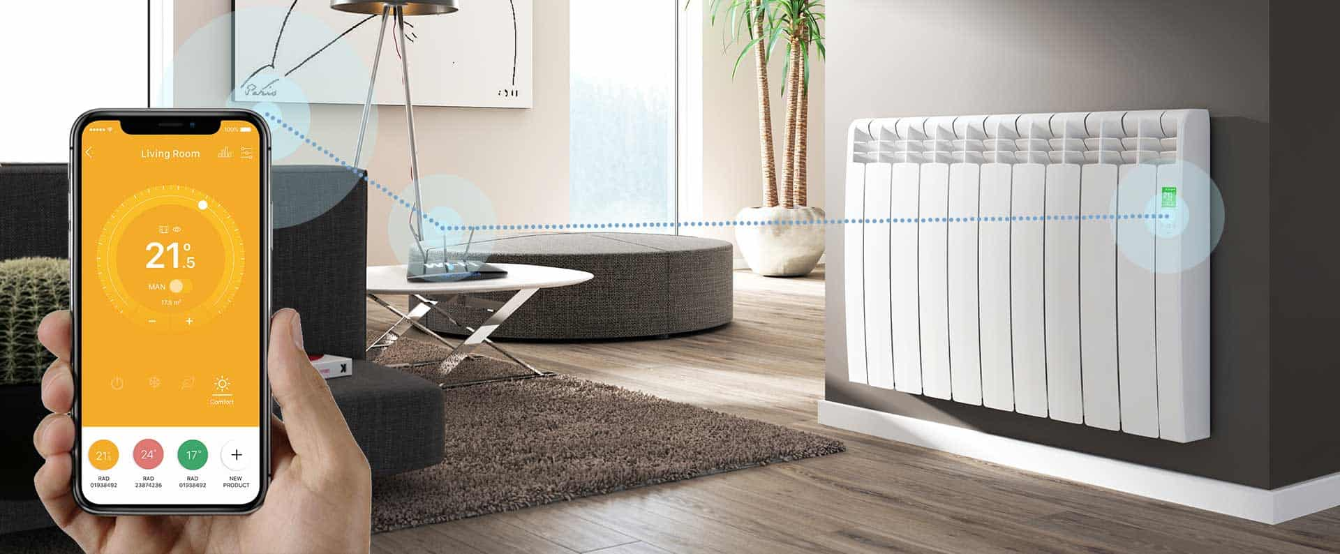 Rointe Connect app on smartphone controlling D Series radiator in living room via WiFi router