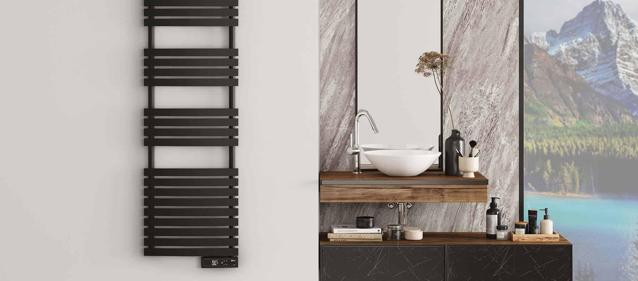 Rointe electric towel rail steel oil filled smart enabled wifi black