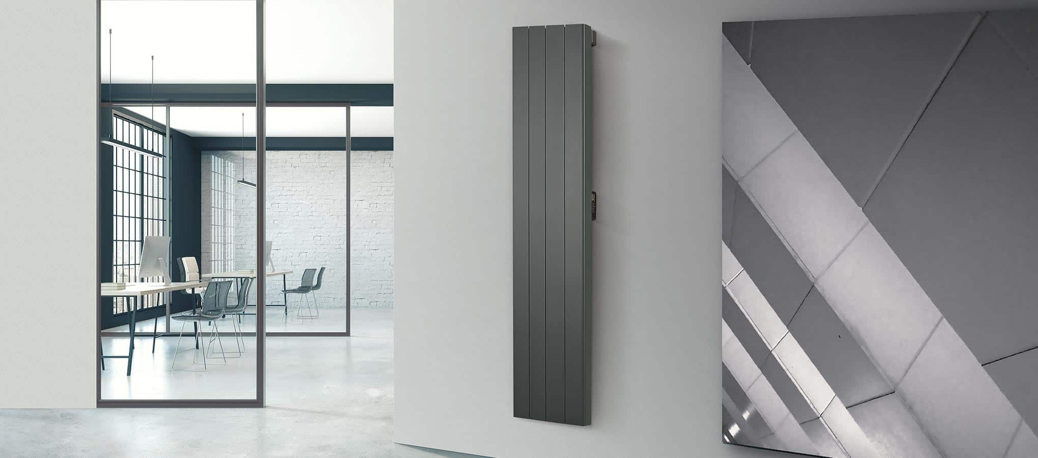 Rointe Palaos tall vertical slim line electric radiator in black wall mounted in office