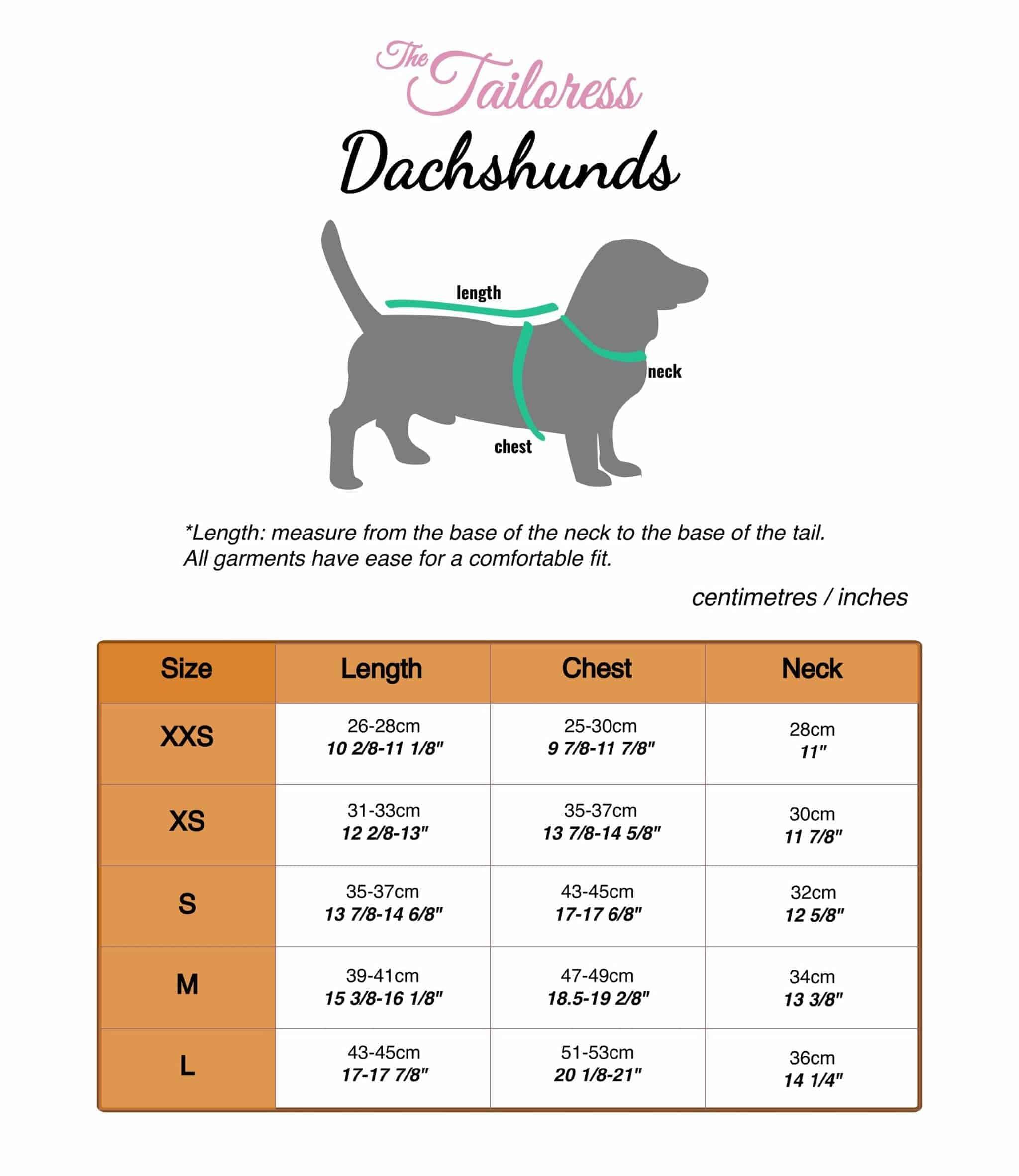 The Tailoress PDF Sewing Patterns - Sizing Chart