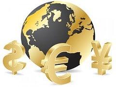 Gold Welt Währung Globus Yen Dollar Euro