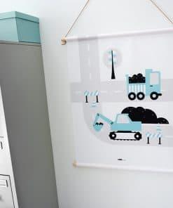 textielposter voertuigen graafmachine blauw ANNIdesign 0