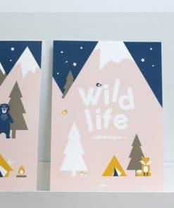Poster Wild Life teks oud roze