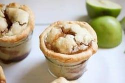 Mini Mason Jar Apple Pies on white background