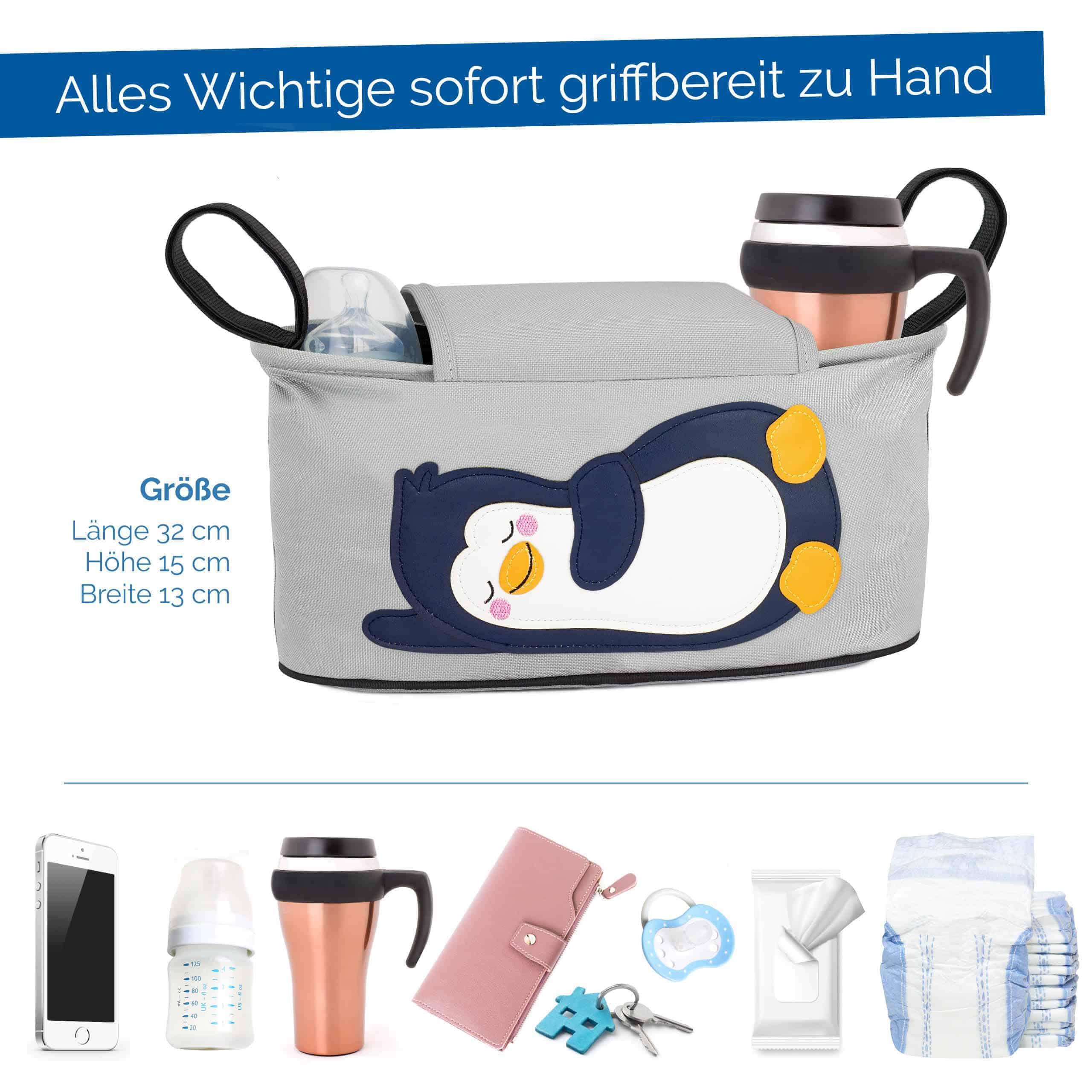 Glückswolke Kinderwagen Organizer Pinguin Tasche Buggy Feuchttücher Fach