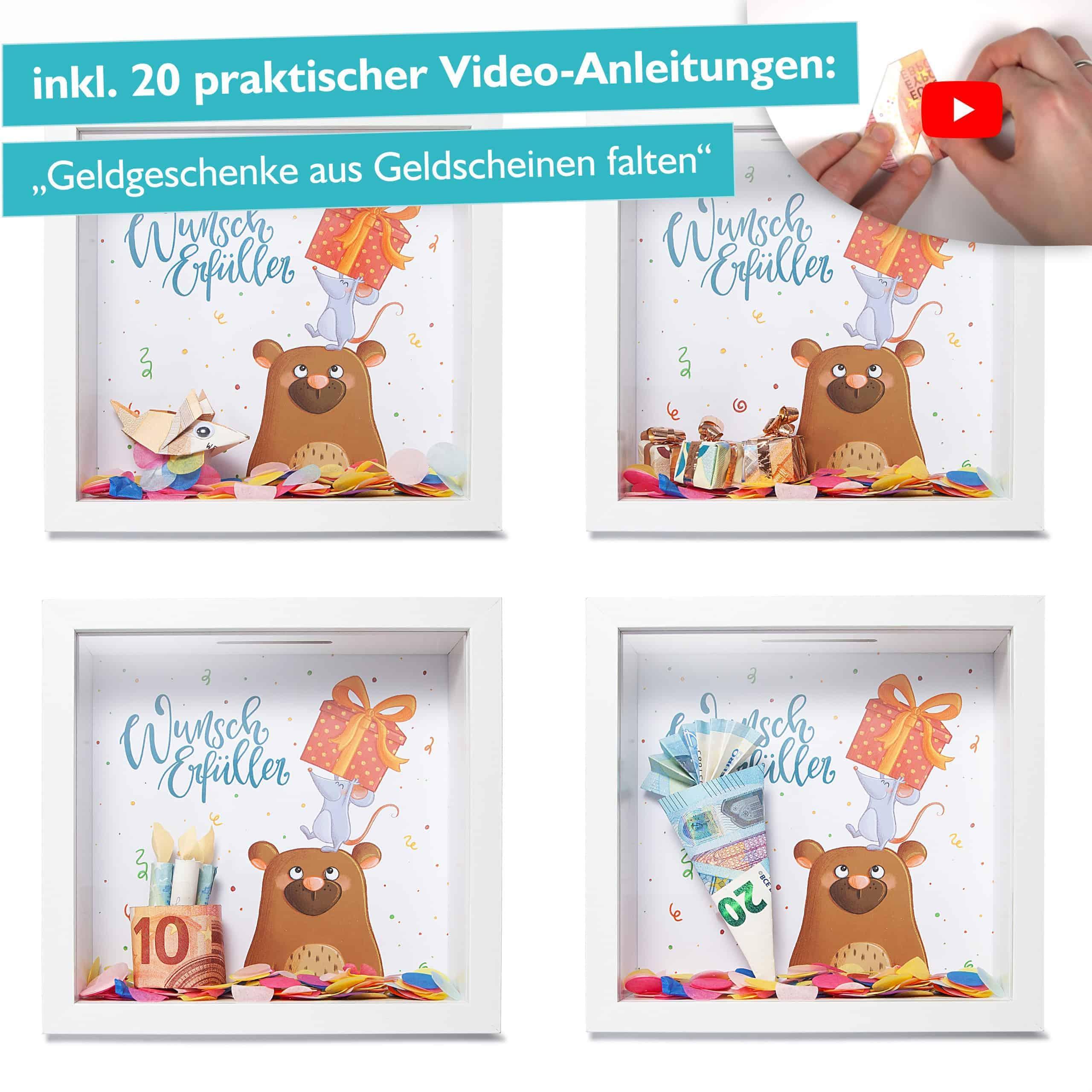 Glückswolke Geldgeschenk Verpackung Bilderrahmen mit Spardose
