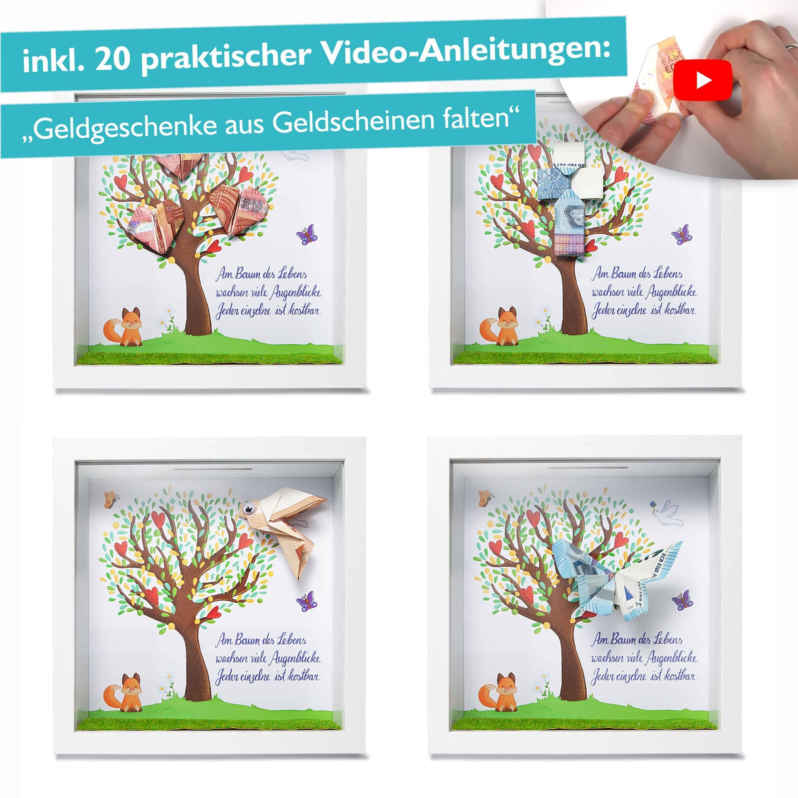 Glückswolke Geldgeschenk Verpackung Bilderrahmen mit Spardose Taufe