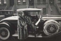 James Van der Zee, Racoon Couple in Car, 1932.