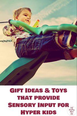 Gift Ideas and Toys that provide Sensory Input for Hyper kids   Fab Working Mom Life #sensory #adhd #hyper #vestibular #proprioceptive #sensoryinput #sensorytoys #giftguide #giftideas