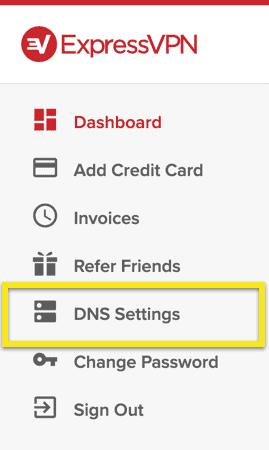 """Wählen Sie in dem Menü """"DNS-Einstellungen""""."""