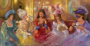 Venice nightlife in Caffè Florian, Painting by Alex Levin