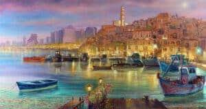 Jaffa port tel aviv painting