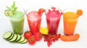 how to juice at home with 4 glasses of different colored juices