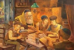 Cheder at the Shtetl kids reading torah