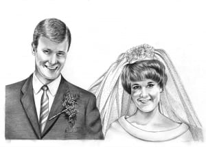 Pencil Portrait of Bride and Groom