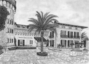 Pencil Drawing of Castillo Hotel Son Vida