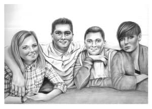 Pencil Portrait of Family