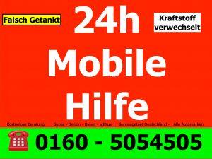 falsch getankt 24h Mobile Hilfe Telefonnummer 0160 5054505
