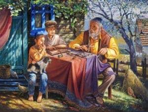 shtetl jewish painting