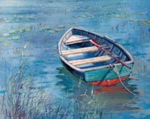 painting of boat lake