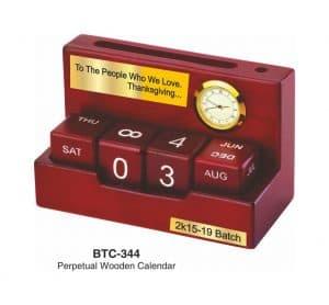 Perpetual Wooden Calendar with Clock - BTC-344