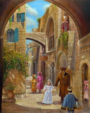 purim in jerusalem painting