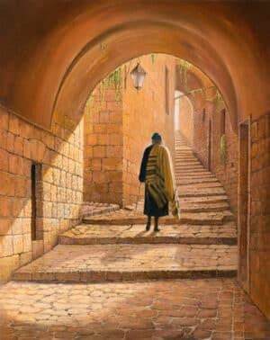 man walking in jerusalem painting