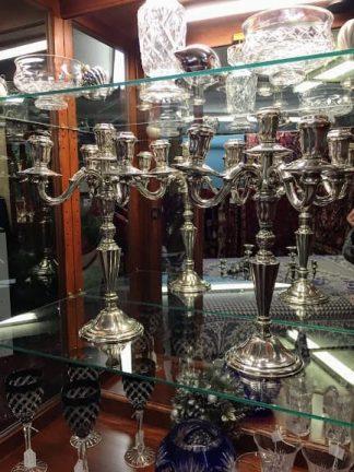 tall vintage silver plate candelabras