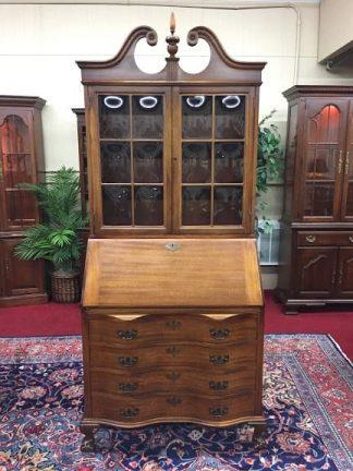 Vintage Maddox Secretary Desk with Bubble Glass