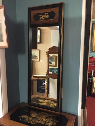 Maple and Black Decorated Mirror with Eagle