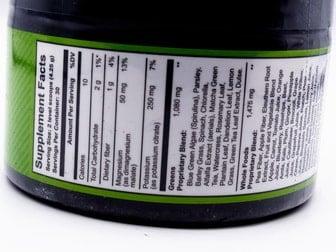 ItWorks Greens Ingredient Label