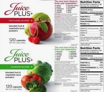 Juiceplus Ingredient Label Orchard Blend & Garden Blend