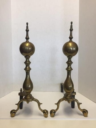 Brass Andirons with Ball and Claw Feet