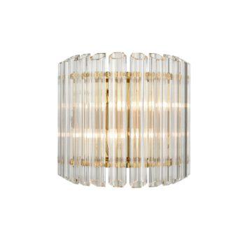 Modern Glass Rod Wall Sconce Brass Mid Century Art Deco 2 Lights