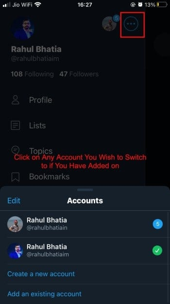Switch between Multiple Accounts on the Twitter mobile