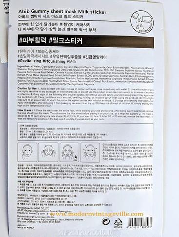 Ingredients of hydrating and moisturizing sheet mask Abib milk sticker