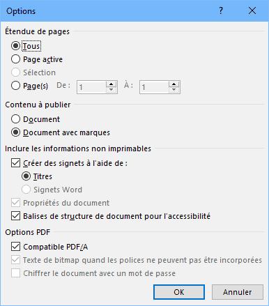 Word - options PDF