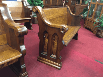 """Antique Walnut and Ash Church Pew - 5 ft 2"""""""