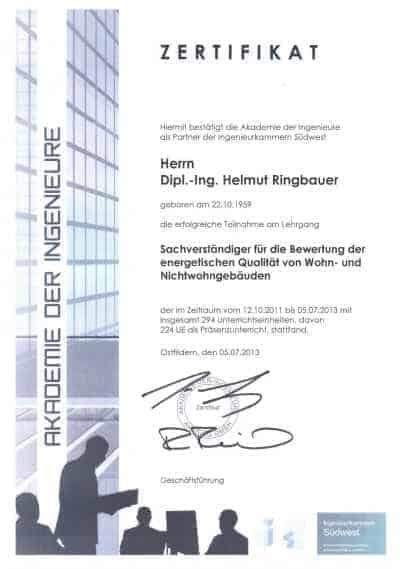Zertifikat Energieberater Wohn- und Nichtwohngebäude
