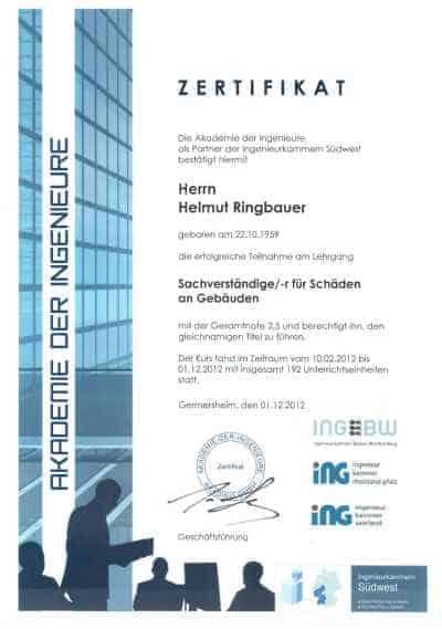 Zertifikat Schäden an Gebäuden