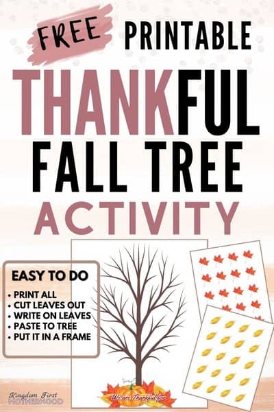 Download this Free Printable Thankful Tree Activity to do with your kids this Thanksgiving. Enjoy the time counting your blessings, writing them down on the leaves and glueing them to the tree.