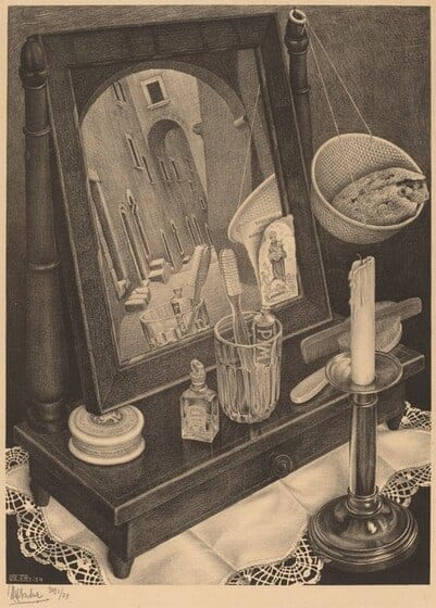Still Life with Mirror, 1934, lithograph, Cornelius Van S. Roosevelt Collection All M.C. Escher works © Cordon Art-Baarn-the Netherlands.
