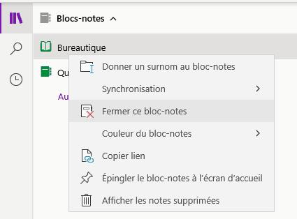 Le menu contextuel d'un bloc-notes de OneNote