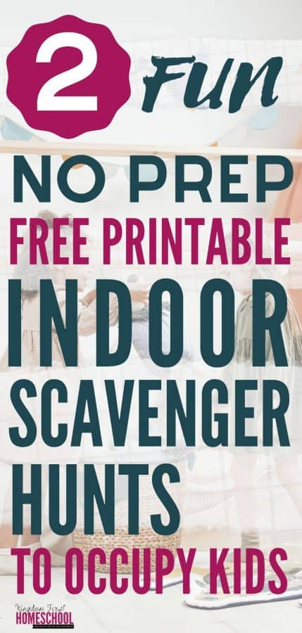 Are you stuck inside with your kids? You should these No Prep Free Printable Indoor Scavenger Hunts for Kids!We have 2 fun printables to choose from!