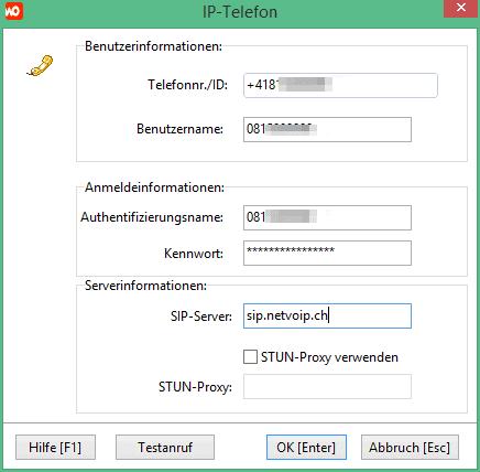 Einstellungen für Netvoip.ch-IP-Telefonanschluss