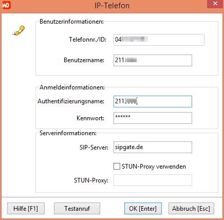 Einstellungen für Sipgate-IP-Telefonanschluss