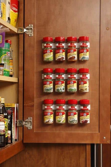 door mounted spice jar rack