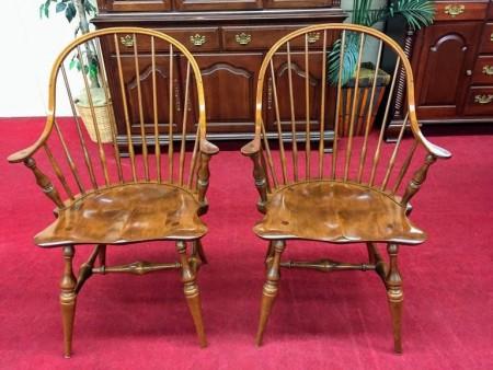 E.R. Buck Maple Windsor Arm Chairs