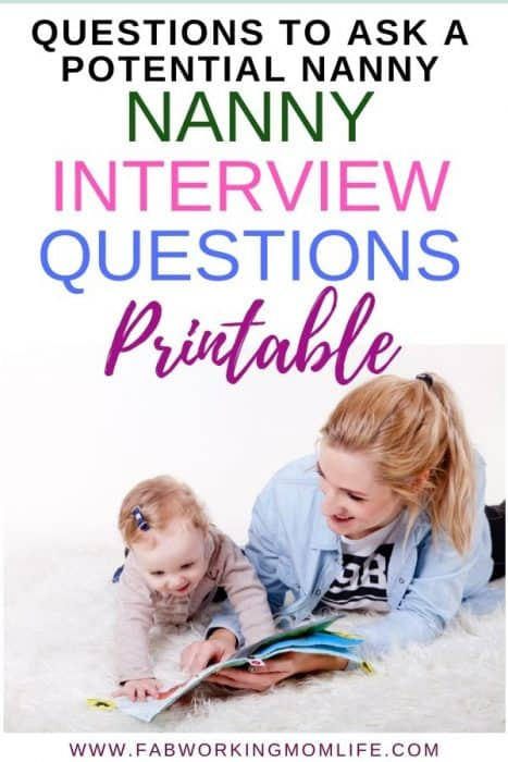 questions to ask a potential nanny - nanny interview questions printable