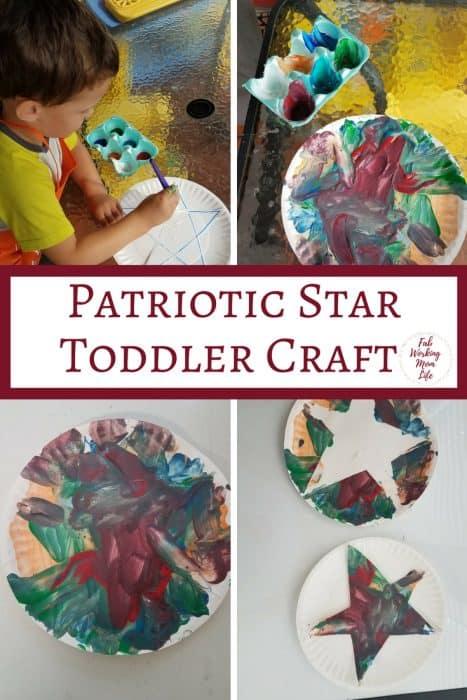 Patriotic Star Craft for Toddlers and Preschoolers   Fab Working Mom Life   #toddlers #preschoolers  parenting, motherhood, raising toddlers, raising preschoolers, teaching toddlers, teaching preschoolers, totschool, tot school